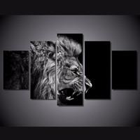 achat en gros de noir cadre photo livraison gratuite-5 pcs / ensemble encadré imprimé lion blanc noir peinture toile de décoration de salle d'impression poster toile d'image Livraison gratuite / ny-4584