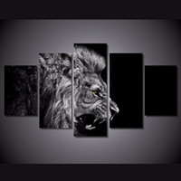 Wholesale 5 Set Framed Printed lion white black Painting Canvas Print room decor print poster picture canvas ny