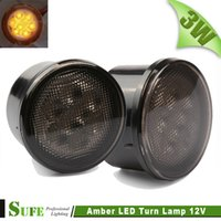 amber fog - 2 LED Lights Front Fender Amber Beam Turn Signal Lamps Fog LIght For Jeep Wrangler