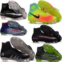 Wholesale Cheap Men Original Mercurial Superfly V FG CR7 Adult Soccer Shoes ACC Womens Magista Obra Outdoor Football Boots Hypervenom Phantom Cleats