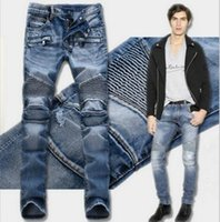 Wholesale New Arrivals fashion brand balmain biker jeans for men casual washed denim Splice Frayed jeans Motorcycle pants skinny jeans