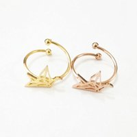 american crane - Fashion Animal Ring k Gold Silver Rose Gold Stainless Steel Dainty Origami Crane Knuckle Midi Ring