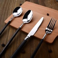 Wholesale Black handle steak knife and fork set western cutlery knife and fork spoon three sets of high grade knife and fork western cutle