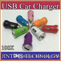 Wholesale 100X For Iphone7 USB Car Charger Colorful Bullet Mini Car Charge Portable Charger Universal Adapter For Iphone S DHL L SC