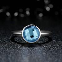 aqua fine - Poetic Droplet Genuine Sterling Silver Rings with Aqua Blue Crystal Elegant Engagement Wedding Rings Women Fine Jewelry R069