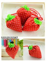 Wholesale Nylon Portable Creative Strawberry Foldable Shopping Bags Reusable Environmental Protection Pouch Eco Friendly Shopping Bags Tote Bags