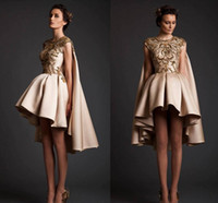 art deco collection - Collections Krikor Jobotian Short Evening Dresses Gold Emboridery Lace Satin Ball Gown Champagne Cocktail Gowns With Wraps Prom Party Dress