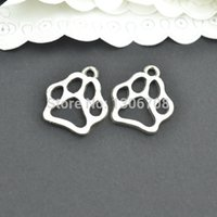 antique metal printing plate - 100pcs Antique metal tibetan silver charms paw print jewelry pendants for diy necklace bracelet jewelry findings mm Z42877