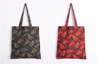 Sac à bandoulière imprimé à feuilles en coton et en lin Jeune sac à bandoulière préféré partysu avec sac intérieur