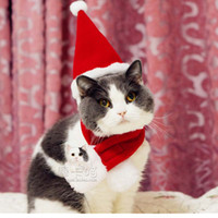 animal grooming - Pet Cat Dog Christmas costume Hats cape scarf suit Warm winter hat for Dog Pet Santa Claus costume hat Grooming accessories