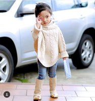 Wholesale Ins New Autumn Winter Girls Wool Sweater Poncho Children Kids Warm Thicken Twist Cloak Baby Toddler High Collar Batwing Outwear Coat Outwear