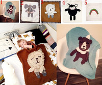 air conditioning bearing - INS Baby Soft Cotton Knitted Animal Blanket Swaddling Blankets Crochet Swaddles D Ins bear Wraps Knit Air Condition Bath Towels
