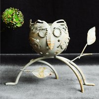 Wholesale Iron candlestick with foot owl hollow metal crafts household ornaments A0512 hotel