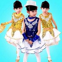 Wholesale 2016 New Girls Sequins Jazz Dance Dress Feathers Veil Suit Dancewear Children Performance Clothing color cm