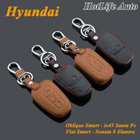 hyundai ix45 - Alloy Keychain Genuine Leather Car Key Case Fob Cover for Hyundai ix45 Santa Fe Elantra Sonata Smart Car Keychains Key Rings