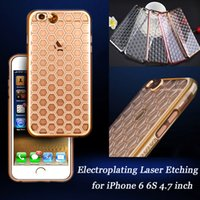 apple etching - Luxury Ultra Thin Slim Crystal Clear Electroplating Laser Etching Soft TPU Phone Cover Case For iPhone S inch Free Ship MOQ