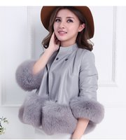 Wholesale South Korean new autumn and winter women cute pink coat fox fur coat splicing Fashion brief paragraph leather and fur coat