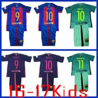 barcelona youth soccer - 2017 Barcelona soccer jerseys kids Green Messi Neymar jr Suarez boys youth Barce Football Shirt camisetas de futbol