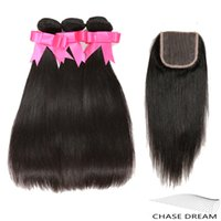 Wholesale 8A Brazilian Human Hair Extensions Straight Virgin Hair Weaves With Closure Silky Straight Human Hair Bundles With Lace Closure