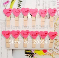 Wholesale Freeshipping New Love Heart Wooden Paper Clip wood pegs Mini Bag Clip wedding Special Gift