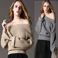 Wholesale Fashion New Winter Autumn Women Sweaters Full Sleeve Off Shoulder Casual Pullover Poncho Loose Knitted Sweater knitwear jumper FS0732