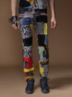 Wholesale Fashion Men s foreign trade light blue black jeans pants Balmain motorcycle biker men washing to do the old fold jeans Trousers patchwork