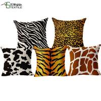 Wholesale New Arrival Animal Cushion Tiger Skin Throw Pillows Case Polyester Cotton Linen Pillowcase Leopard Cojines Capa Para Almofada