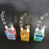 Wholesale 2016 New Design Liquid Glass Juice Box Water Pipes Bongs Sci Glass Dab Oil Rig Tall Cereal Box Concentrate Rigs Glass Hookahs