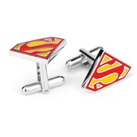 Wholesale Fashion Silver Red Superman Cufflink For Shirt French Cufflinks Fathers Day Gifts For Mens Jewelry Cuff Links C16