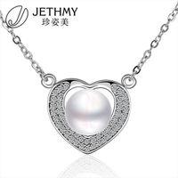 beautiful crucifix - Beautiful Romantic Heart Set Pearl Necklace Gift Lady Pendant Gemstone Crucifix Cross For Women Jade Jewelry