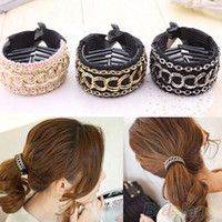 Wholesale Fashionable Luxury Cute Women Gold Chain Hair Clip Hair Barrette Ponytail Holder MWT