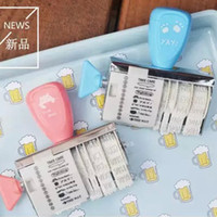 Wholesale Blue Pink Japanese and Korean style Personalized Date stamp roller DIY Knob Seal Text Date Ink Rubber Stamp Diary Photo Album Decoration