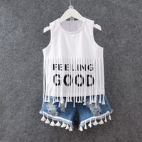 Cheap Children Set Kids Suit Outfits Summer Girl Fringed T-Shirts +Denim Short 2 pcs Kid Denim Clothes Kids Clothing
