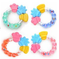 Wholesale Hot Soothers Teethers Cute Toddler Molar Toothbrush Silicone Baby Teether Infant Training Tooth Bell Toys Massager