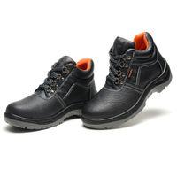 Wholesale Men s Fanshionable PU Work Safety Shoes Protective Boots Smash proof Penetration resistant Breathable Waterproof Black Shoes Best Selling