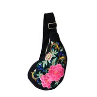 american traditions - Chest Bag cotton bag embroidery bag flower bag single shoulder bag black peony flower Chinese tradition bag