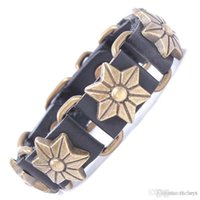 antique china identification - 2015 best selling products pure leather rivet bracelet bracelet six petals antique Bracelet Vintage Jewelry free home delivery