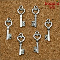 ad antiques - 10pcs MM Key Charms Antique Silver Plated Alloy Pendant Jewelry Findings AD