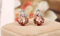 berry clip - 2014 New Hot Lovely Ear Wrap Hoop Silvery Plated Orange Rhinestone Strass Berry Cuff Clip on Earings JS028