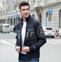 Wholesale 2016 New High quality Retro Thicker Section Men Sweaters Knitted Cardigan Zipper Men Winter Coat Stand collar Loose Knitted Coat