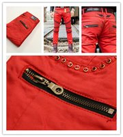 american pencil - Red Fashion Robin Zipper Jeans Men Classic Biker Wash Studded Cowboy Slim Denim Trousers with Wings American Flag Jean Mens Skinny Pants