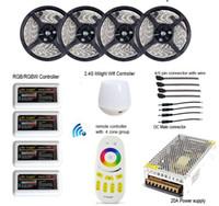 al por mayor regulable 12v llevó controlador de iluminación-El mejor precio RGBW RGBWW RGB 20M 5050 Mi Luz WIFI tira llevada impermeable regulable 12V 24V + 4pcs Controller + RF + Fuente de alimentación remota con el enchufe
