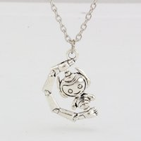 antique robots - Hot New Europe and America Antique Silver ZInc Alloy Robot Charm Pendant Necklace