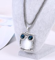 Wholesale 2016 designer womens necklaces owl necklace for lady owl rhinestone Czech diamond necklaces vintage necklaces European crystal necklaces