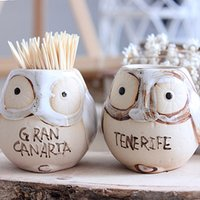 Wholesale Vintage Owl Pattern Ceramic Toothpick Holder Toothpick Tank Toothpick Bucket ToothPick Holder Storage Home Dining Table Decor