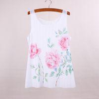 beautiful tees - Beautiful flower print women top tees summer dress new arrival female tanks new fabric clothing customized apparel mix order