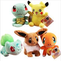 Wholesale 5pcs set Poke Pikachu Bulbasaur Squirtle Charmander Plush Toys Christmas gift Stuffed Baby Doll quot cm high quality