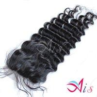 Compra 7a encierro del pelo de la onda profunda-Encierro del cordón del Sweety grado 7A onda profunda malasia peruana brasileño del pelo el 100% del pelo humano de la India