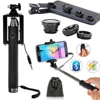 Wholesale Monopod Extendable Wired Selfie Stick with Built in Remote Shutter and Clip On Degree Fish Eye Lens X Wide Angle X Macro