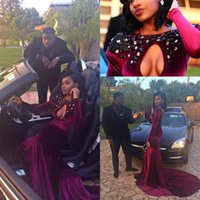 Reference Images african picture art - 2K16 Black Girl Sexy African Mermaid Prom Dresses Long Sleeves Jewel Keyhole Beaded Velvet Sweep Train Formal Evening Party Gowns